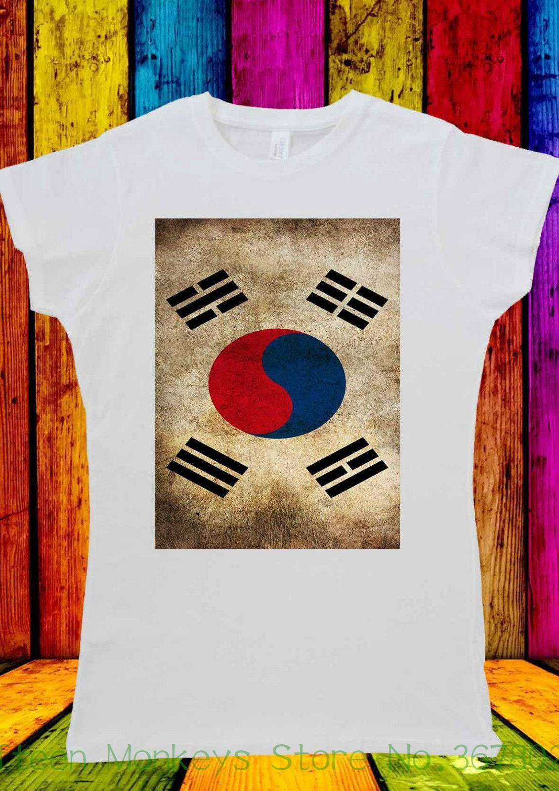 Women's Tee Korean Flag South Korea Seoul T-shirt Men Women Unisex 1428 Printed T Shirts Women