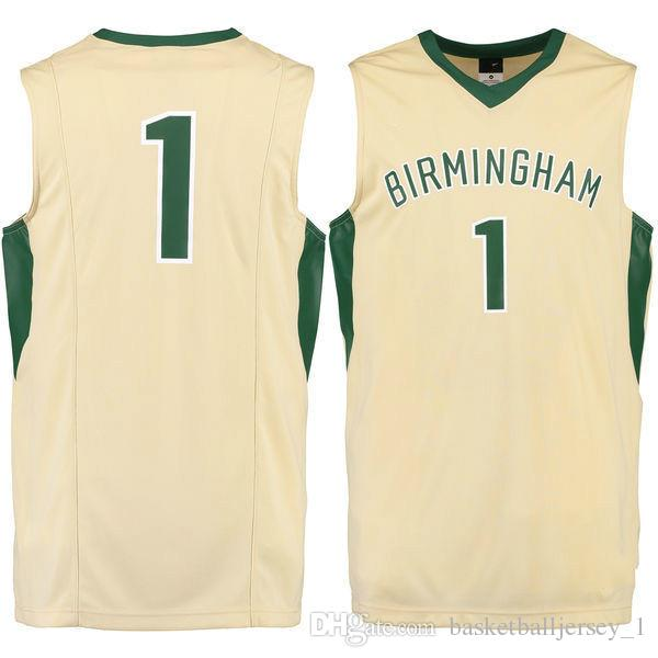pretty nice 29d4c 2623d NO.1 UAB Blazers Men College Basketball Jersey embroidery Athletic Outdoor  Apparel Mens Sport Jerseys Size S-3XL