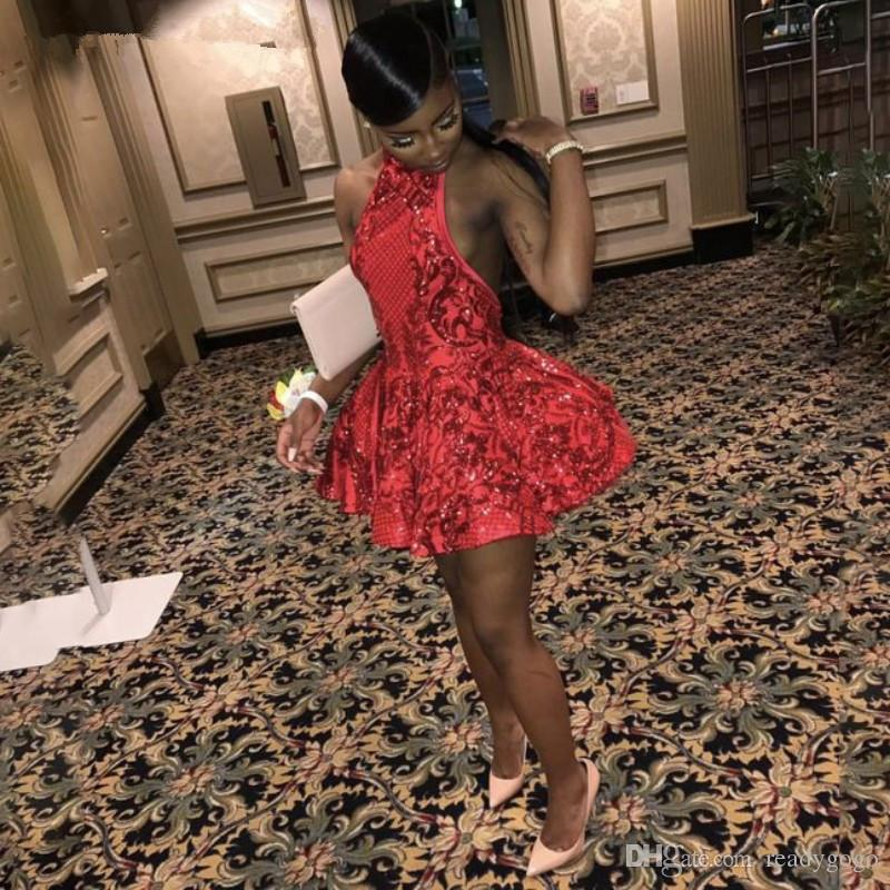 Sexy Halter Backless Red Short Prom Dresses for Black Girls Sequins African Graduation homecoming Dress 2019 Mini Cocktail Party Dress