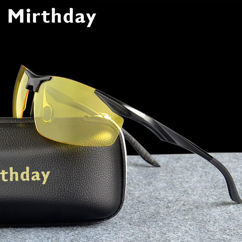 3722bcd272a Mirthday HD Night Vision Glasses Men Polarized Anti Glare Lens Aluminium  Magnesium Yellow Sunglasses Night Safe Driving Goggles Designer Glasses  Sunglasses ...