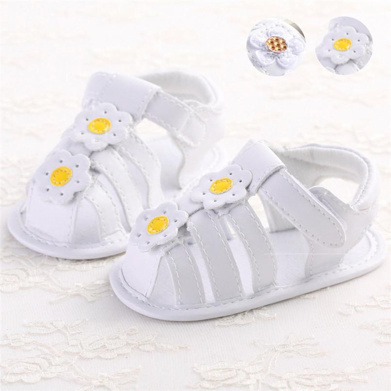 Summer Baby Girl Shoes Toddler Newborn Baby Girls Solid Flower Sandals Soft Sole Anti-slip Shoes Baby Girls Sandals M8Y16