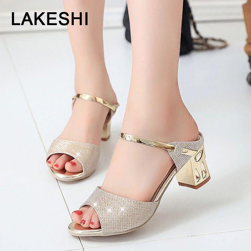Acheter Lakeshi Carré Chaussures Métal Sandales Talon Femmes rdxCBoeW