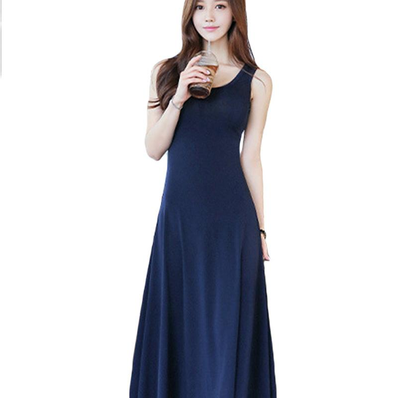 8a328937880 Casual Modal Long Dress 2019 European Summer Women Home Gown Female O Neck  Bohemia Grand Party Beach Maxi Dress Brides Dresses Cocktail Dresses Online  From ...