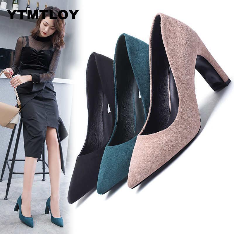 a77c6afd12d Shoes Plus Size 35-43 Size Women 10cm Block High Heels Bridal Scarpin Pumps  Ladies Pointed Toe Black Khaki Plaza Heels Female