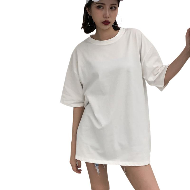 new & pre-owned designer sold worldwide attractive & durable Streetwear Women Long T-shirts Summer 2018 Ladies Tees Tops White Short  Sleeve Oversized Tshirt O-neck Harajuku Woman T Shirt Y19042101