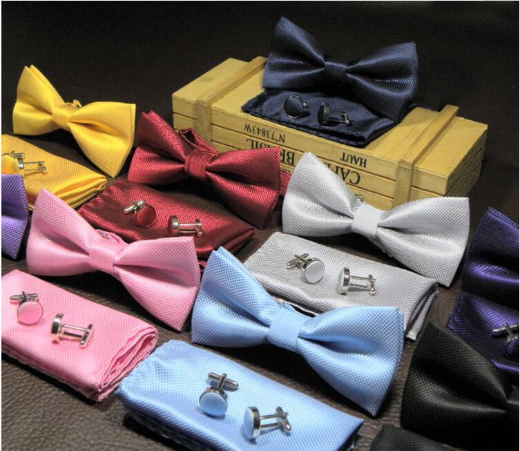 3 PÇS / SET Laços Sólidos Laços Set 15 Cores Mens Moda Bowtie Lenço Abotoaduras Define Acessórios de Tuxedo Para Festa de Casamento terno de Negócios