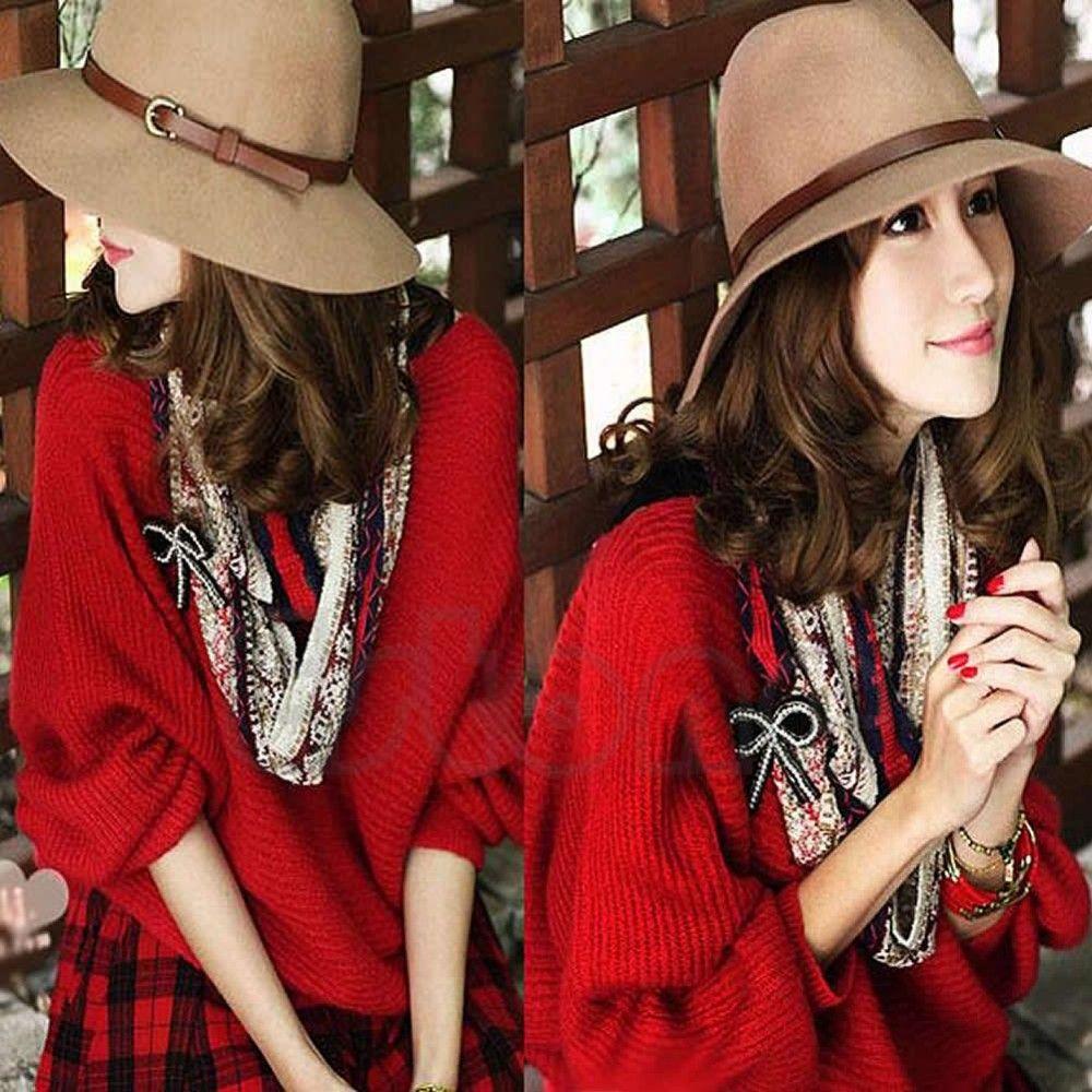 efeba6d945f6a A96 Women Wool Belt Fedora Trilby Cap Winter Warm Wide Brim Buckle Cowboy  Hat Online with  19.14 Piece on Minnier s Store