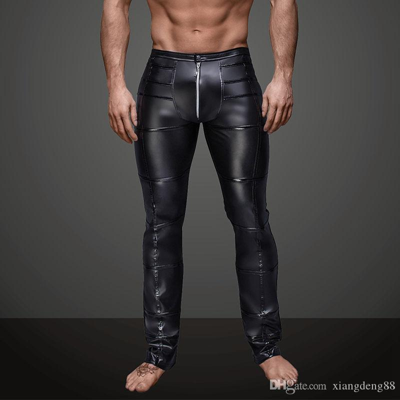 cf98e2f996532c 2019 Mens Slim Exotic Long Pants Faux Leather Black Wet Look Long Johns Men  Club Dancer Skinny Trousers Fetish Gay Tight Pants S XXL From Xiangdeng88,  ...