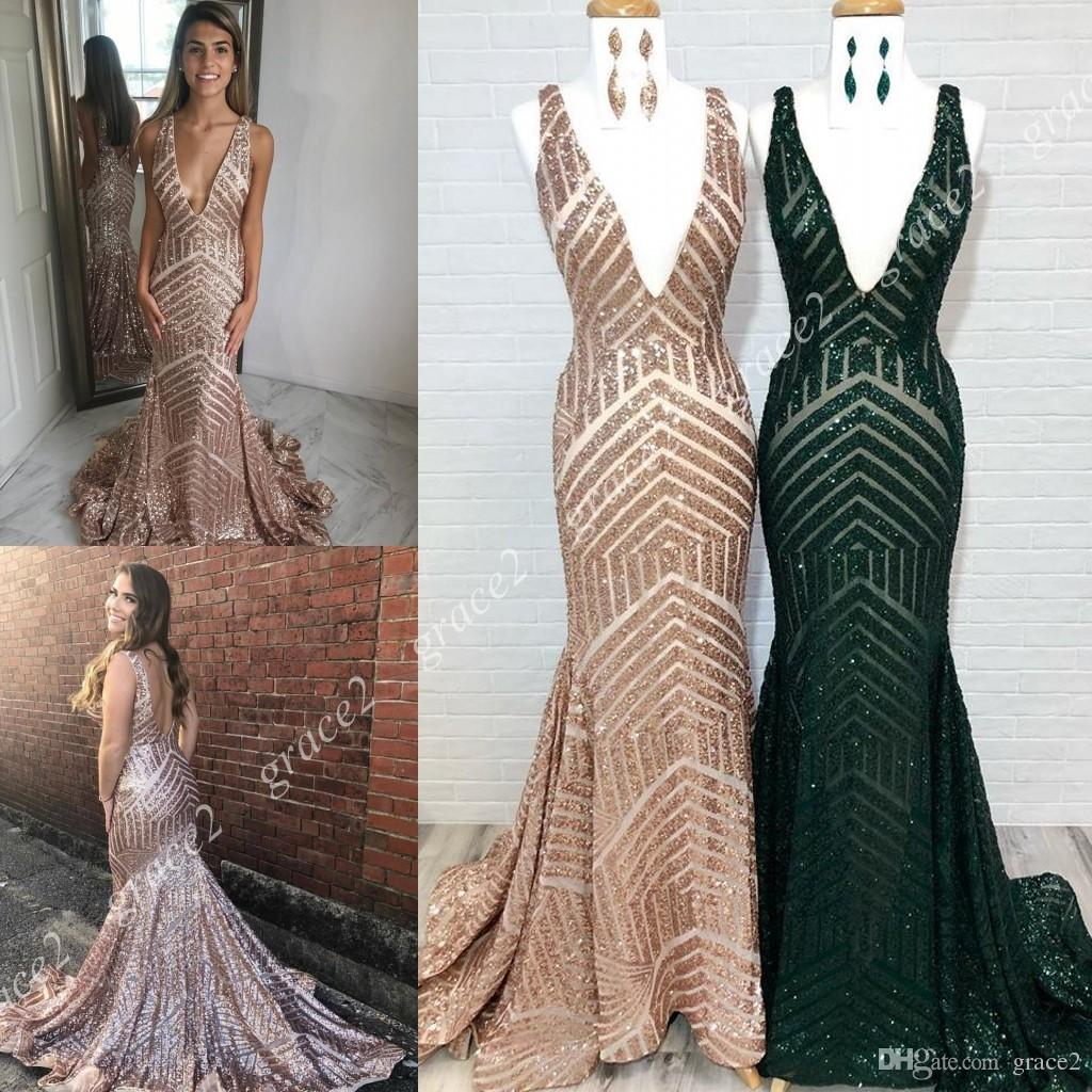 e9c75490 Sparkle Sequins Prom Dresses 2019 Deep V Neck Real Pictures Emerald Gold  Pageant Gowns For Miss Lady Sweep Train Backless Sleeveless Mermaid Prom  Dress ...