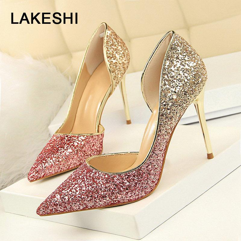 d7a9762d9ab556 LAKESHI Extreme Women Pumps Bling Wedding Shoes Sexy High Heels Stiletto  Gradient Women Heel Shoes Fashion Party Pumps Shoes Purple Shoes Scholl  Shoes From ...