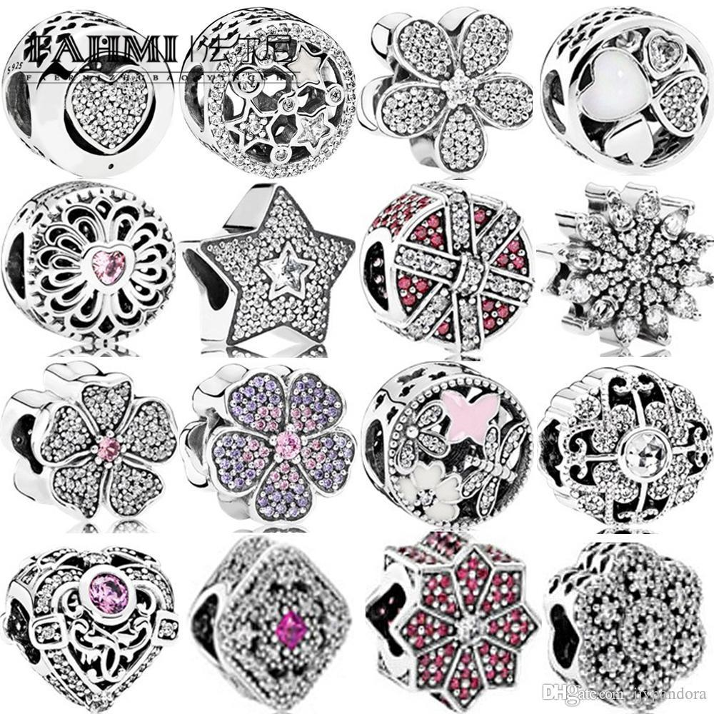 FAHMI 100% 925 Sterling Silver Charm Star Daisy Ice Crystal Sparkling Apple Blossom ILLUMINATION STARS OPENWORK Fairytale Treasure