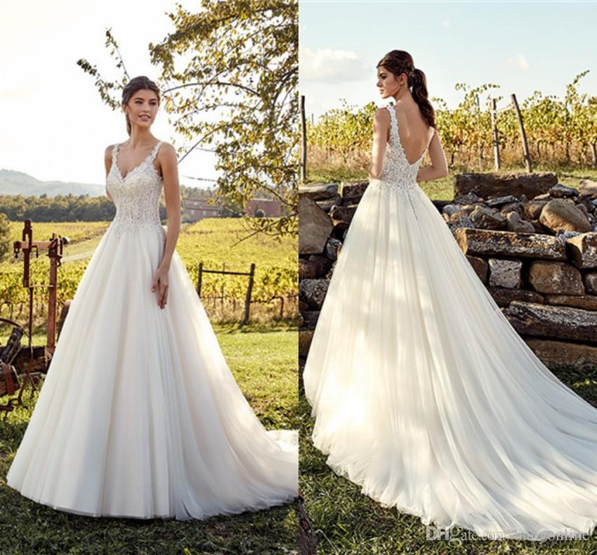 e66e2d16b0c Discount Eddy K Wedding Dresses 2019 A Line Applique V Neck Low Back Summer  Garden Bridal Gowns With Court Train Elegant Wedding Gowns Grecian Style  Wedding ...