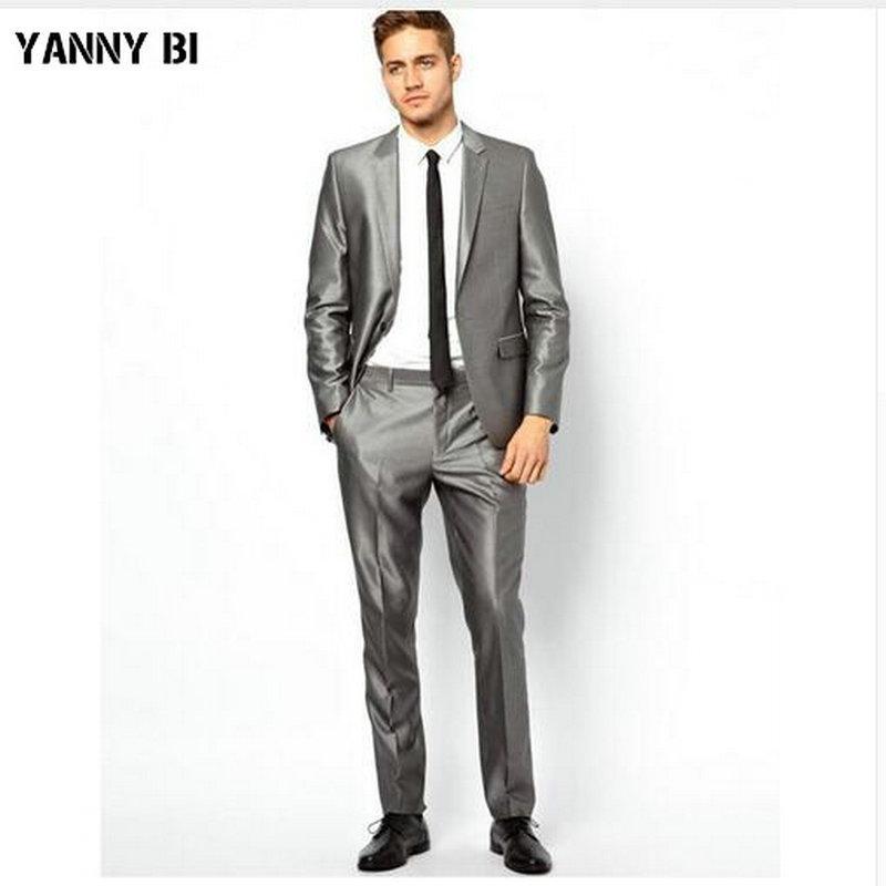 e3216d8a3b Smoking nuovo arrivo per uomo argento grigio Abiti da sposa per uomo 2  pezzi abiti slim fit due bottoni groomsmen (Jacket + Pants)