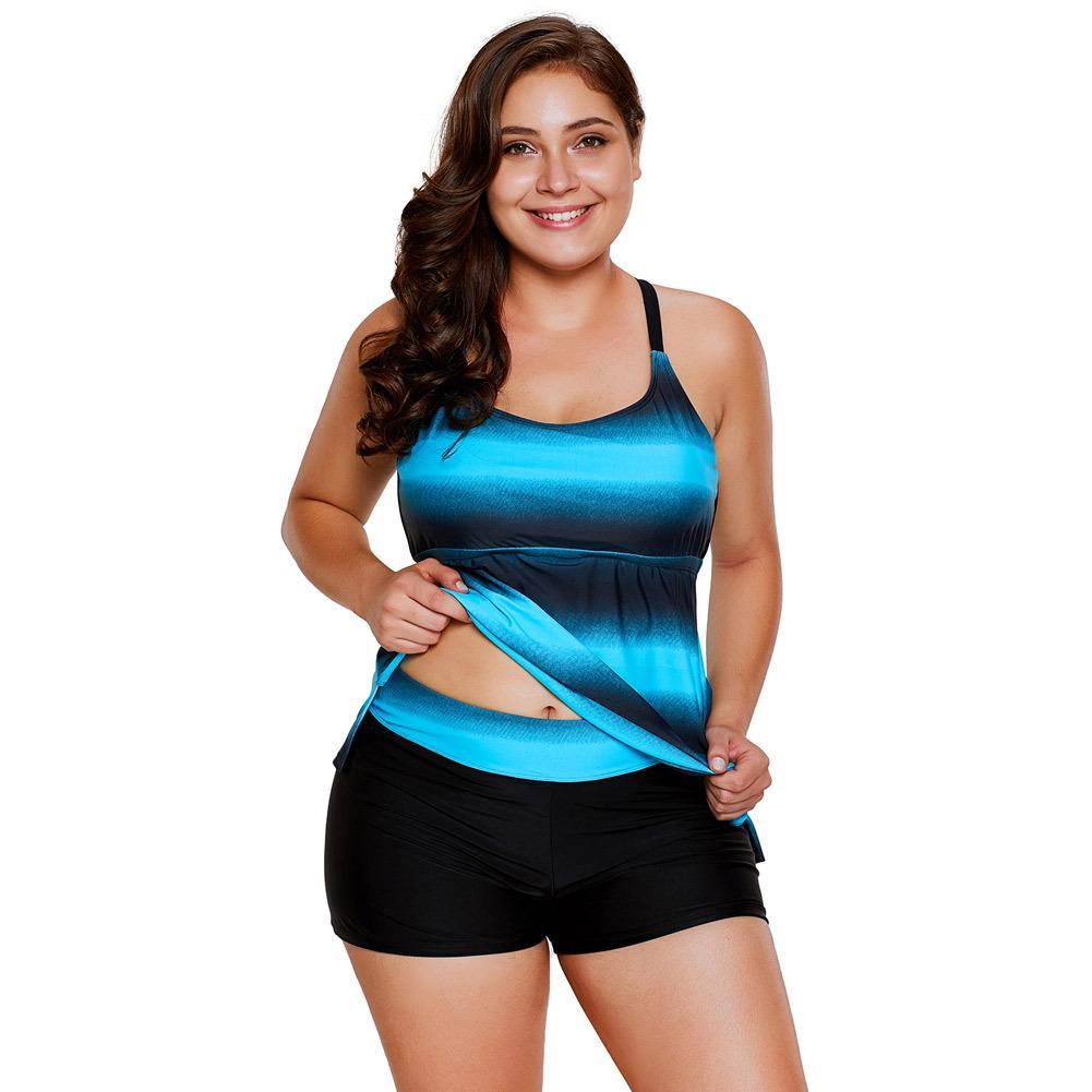 3ec8bbcb20e 2019 Fluorescent Gradient Colour Flat Pants Large Size Split Ladies  Swimming Suit 410270 From Atteaof, $18.09 | DHgate.Com