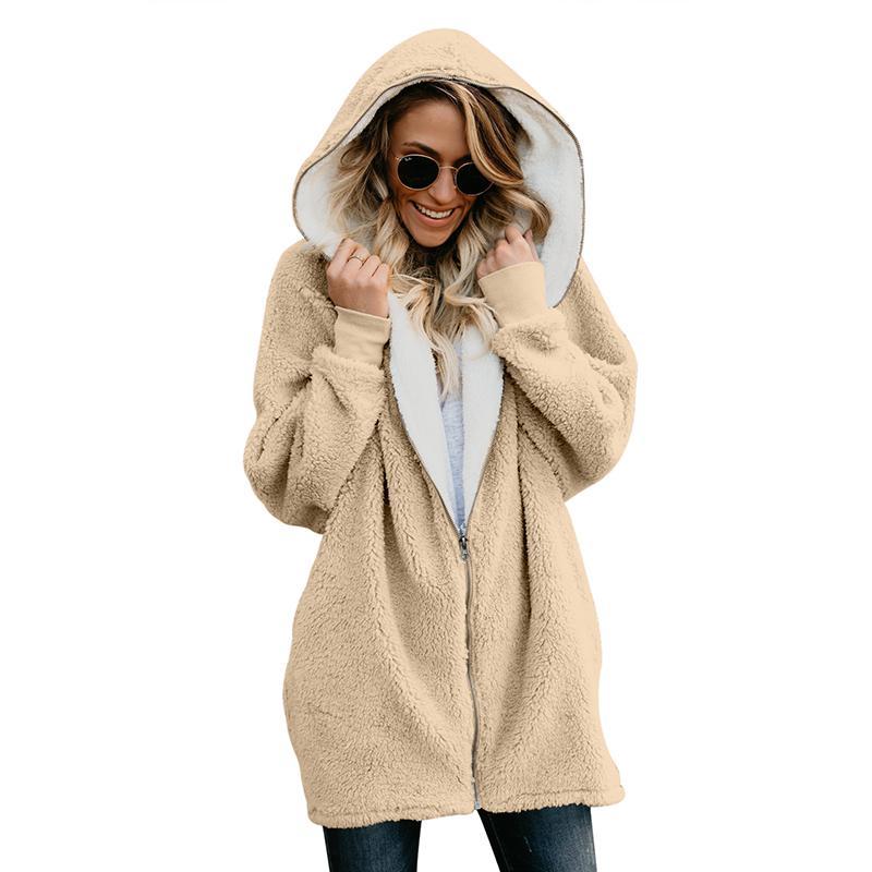 097b6bc00e41bc Acquista 2019 Nuove Donne Faux Fur Coat Inverno Caldo Giacca Peluche  Femminile Con Cappuccio Casual Soffici Oversize Orsacchiotto Cappotti Plus  Size A ...