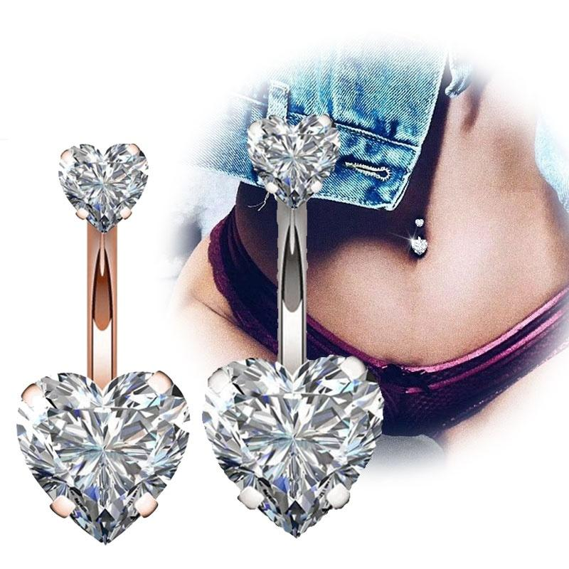 316l Surgical Steel 14g Belly Button Rings Clear Diamond Zircon Cz Navel Rings Belly Jewelry Love Heart White Rose Gold