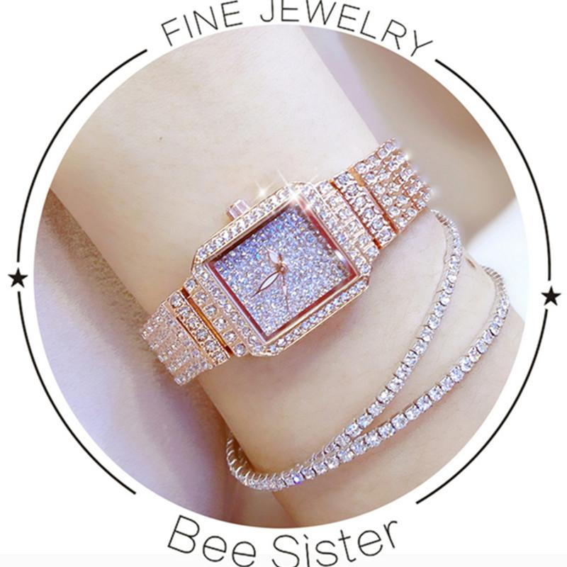 New Hot-Selling Imported Quartz Movement Ladies Chain Watch High-End Custom Full-Water Rhinestone Female Watch Rectangular Dial
