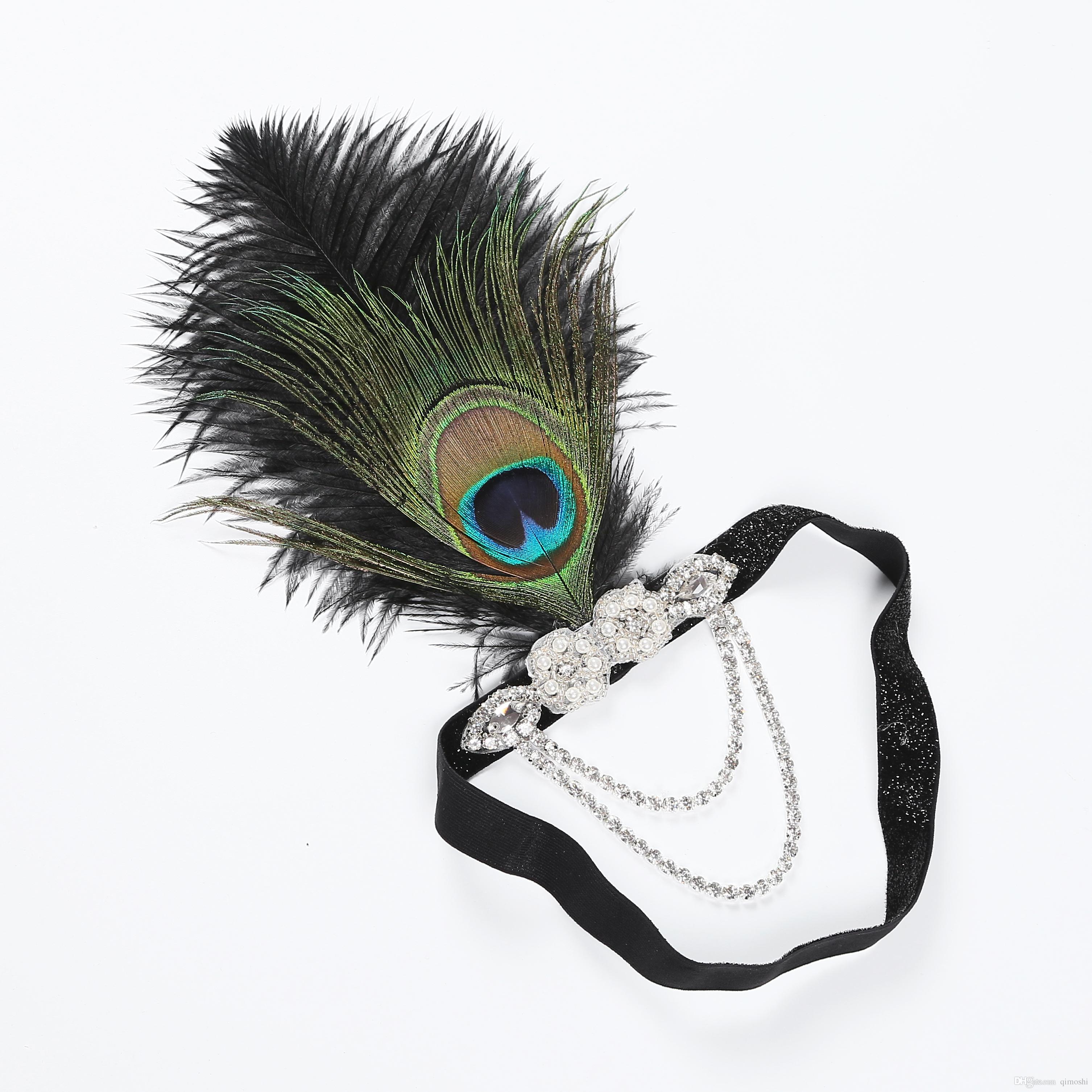 4878213eb7 Art Deco 20th Century Peacock Feather Headdress Gatsby Feather Headband