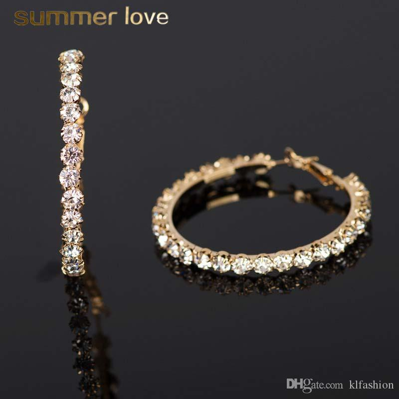 b6719420c4 High Quality Rhinestone Crystal Round Hoop Earring for Women Girls Trendy  Gold Silver Plating Dangle Earring Fashion Jewelry Gift