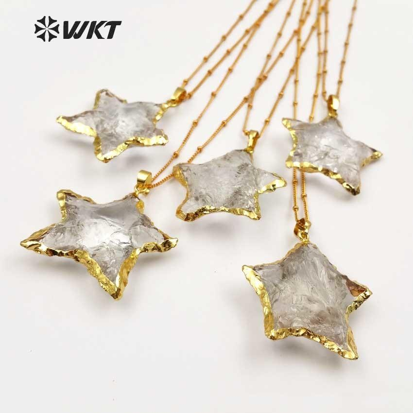 Wt-n1119 Wholesale Fashion Diy Knotted Crystal Quartz Necklace Pendant Natural Stone Star With Gold Trim Necklace Jewelry J190530