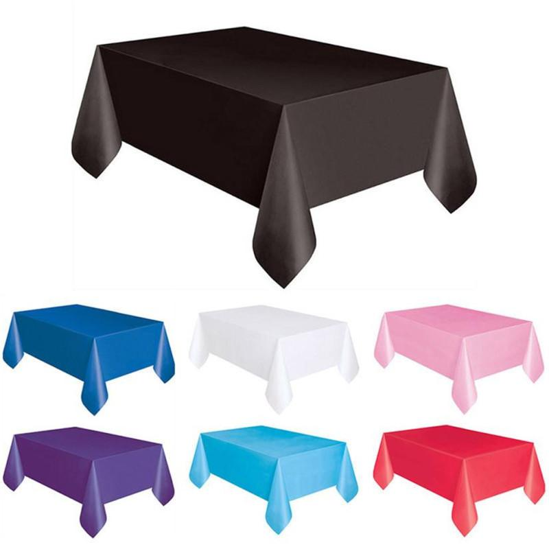 137*183cm Plastic Disposable Tablecloth Solid Color Wedding Birthday Party Table Cover Rectangle Desk Cloth Wipe Covers sale