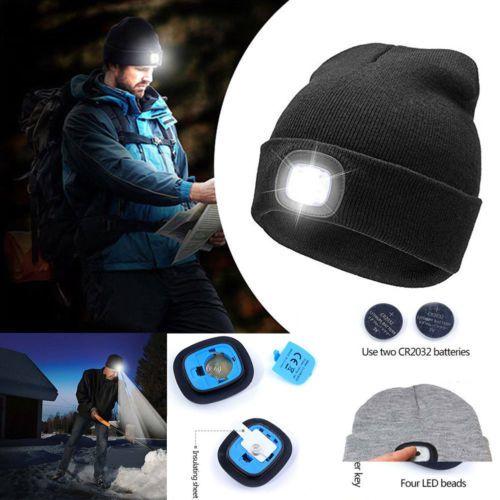 1aa8f8e565e Women Men Unisex LED Beanie Hat USB Rechargeable Battery 5Hours High ...
