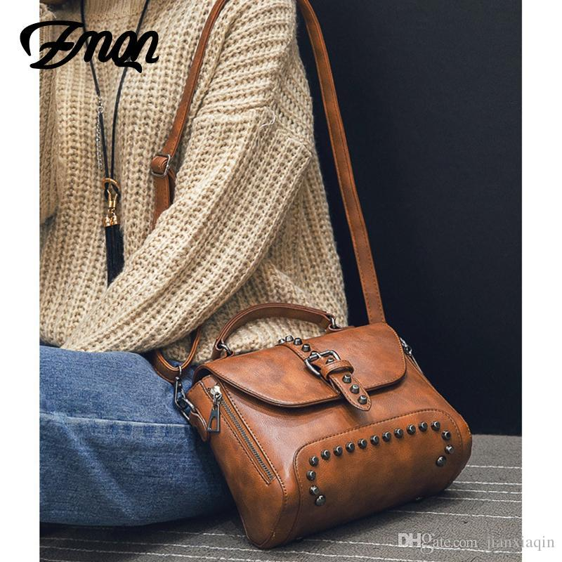 f701bf75162c ZMQN Crossbody Bags For Women Messenger Bags 2018 Vintage Leather Bags  Handbags Women Famous Brand Rivet Small Shoulder Sac A522 Handmade Leather  Bags Totes ...