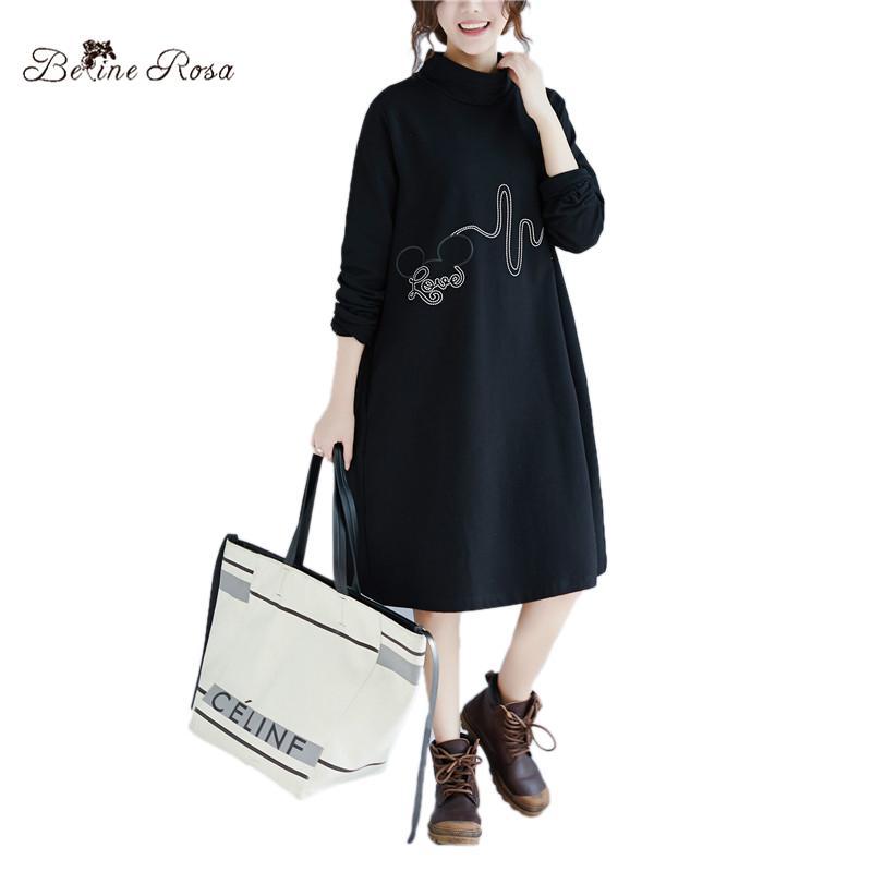 wholesale Winter Plus Size Black Dress Casual Turtleneck Collar Women Tunic  Long Sleeve Loose Style Women Clothes DMNZ0041