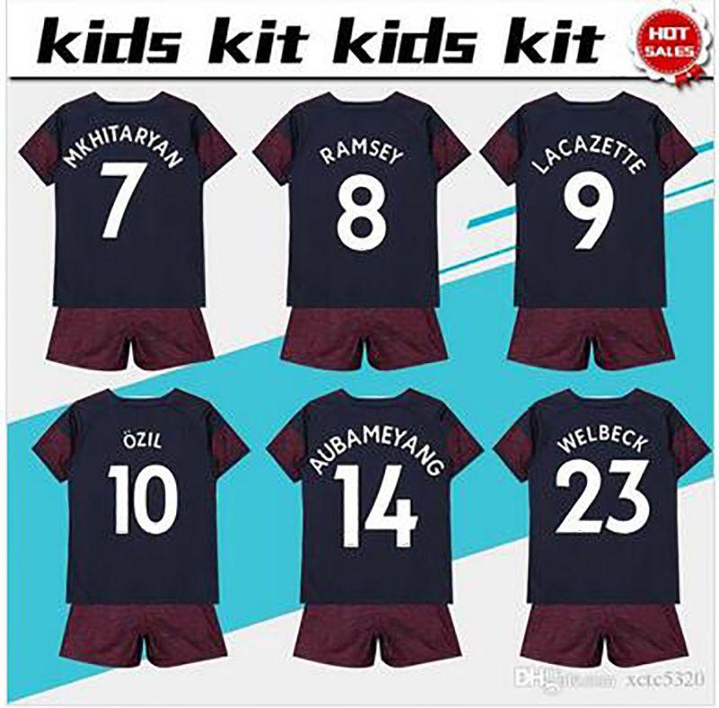 ca48e7c9f2d 2019 Kids Away Shirt Soccer Suit 2018 19 For Kids 2019 Kid Kits  10 OZIL   14 AUBAMEYANG  7 MKHIARYAN Child Football Shirts + Shorts On Sales From  Xctc5320