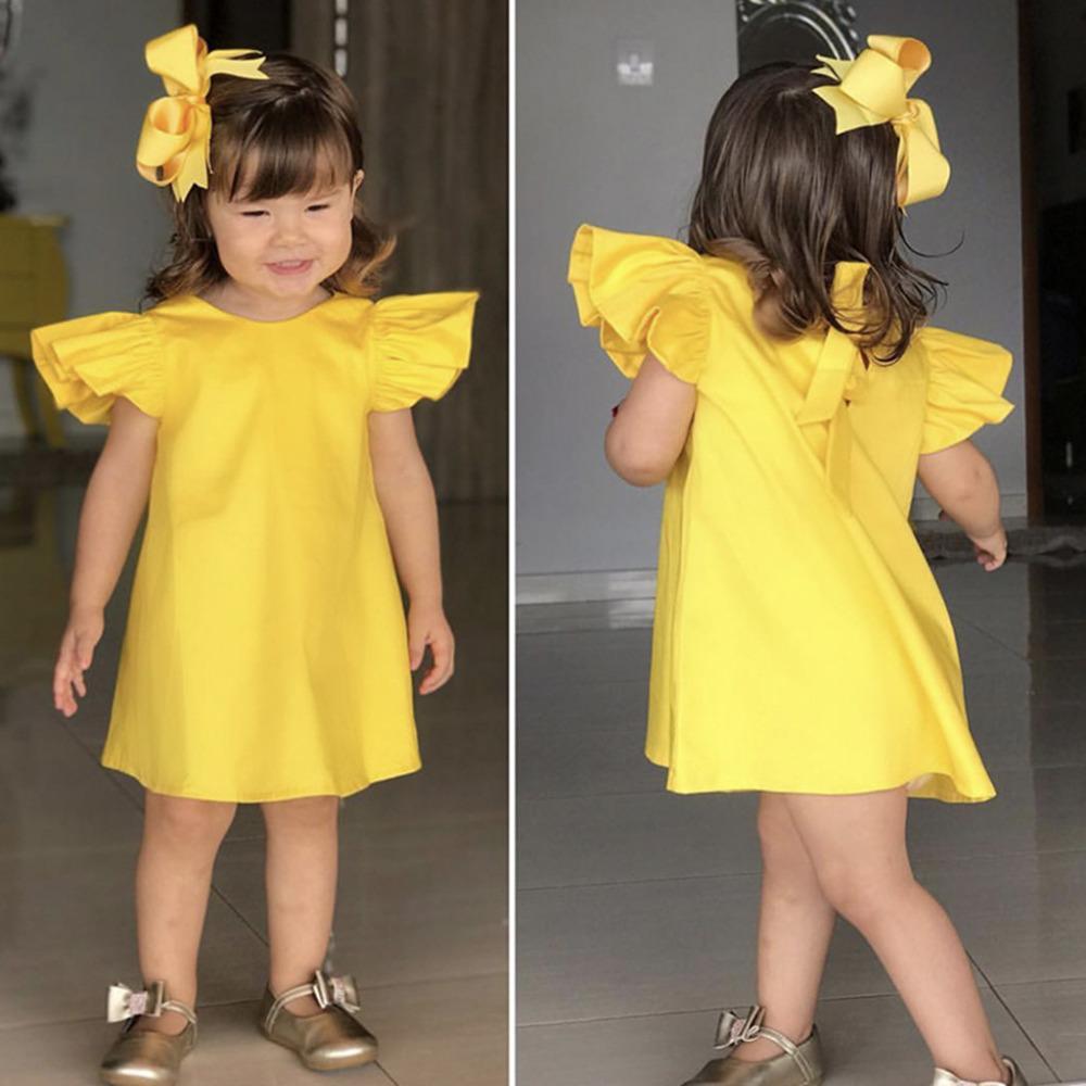 adf5d2838 Compre Verano Infantil Bebés Niñas Mosca De Manga Sólida Arco Vestido  Vestidos Vestidos Vestidos De Fiesta De Algodón Recién Nacido Traje De  Vestir Niñas ...