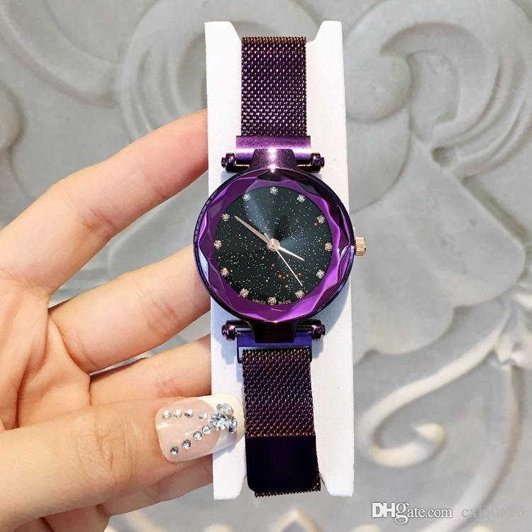 2019 Magnet buckle Purple Color Women Watch Fashion Luxury Steel Famous Design Relojes De Marca Mujer Lady Dress Watch With Starry sky Dial