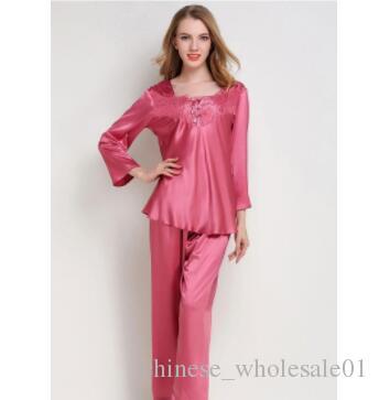 c4aa4f714 Compre Pijama De Satén De Seda De Las Mujeres Establece Ropa De ...