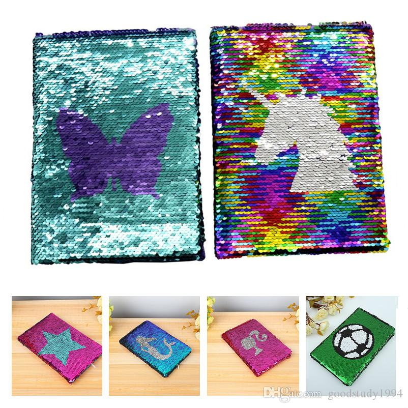 NEW Girls DIY Mermaid Magic Sequin Journal Notebooks Love Heart Unicorn Ball Sequin Office Notepads School Diary Stationery Gift