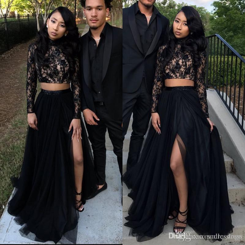 6a531c81767d1 2019 A Line Two Piece Prom Dresses 2019 Long Sleve Lace High Neck Side  Split Froaml Evening Dresses Black Red Carpet Dresses SP452 Prom Dresses  Under 100 ...