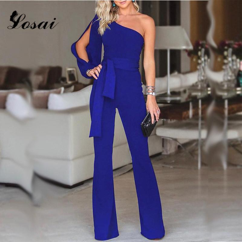 05599c87f22 2019 New Sexy One Shoulder Womens Jumpsuits Sexy Ruffles Clubwear Jumpsuits  Party Jumpsuit Romper Wide Leg Pants Long Trousers From Shuangyin1998