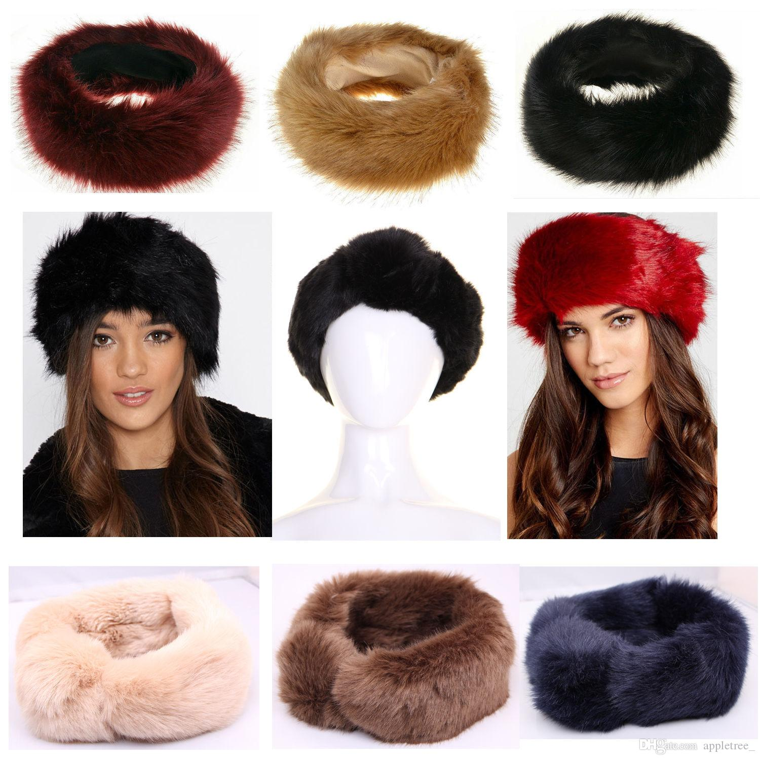 b641e89f6 Women Faux Fox Fur Hat Winter warm Cap Luxury headwear female hats caps  Headband womens Ear warmer earwarmer Girl Earmuff hot
