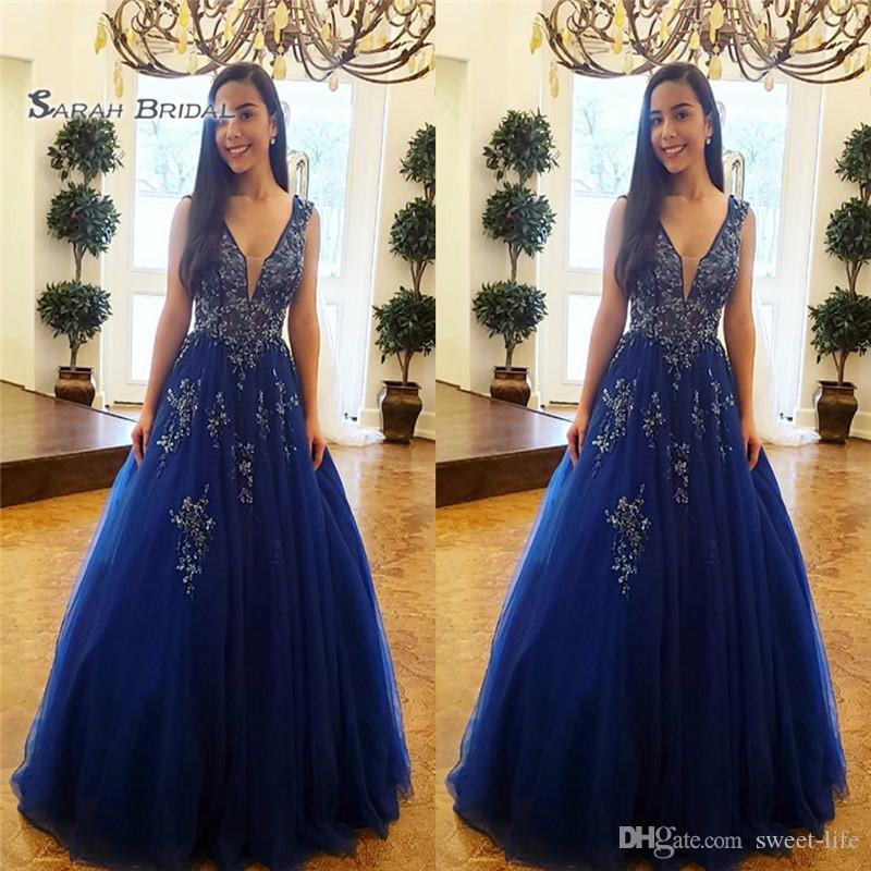 2019 Elegant A-line V-neck Tulle Appliques Floor Length Sleeveless High End Quality Evening Party Dress Hot Sales