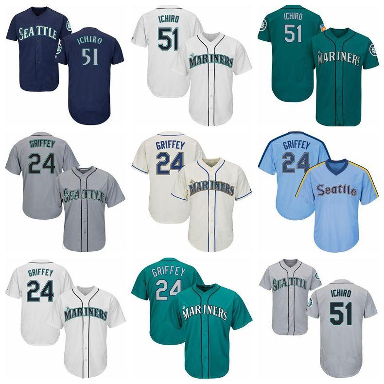 hot sale online 0ec89 99dc5 Mariners Jerseys 24 Griffey Jr 51 Ichiro Jersey White Gray Grey Navy Blue  Cream Baseball Jerseys