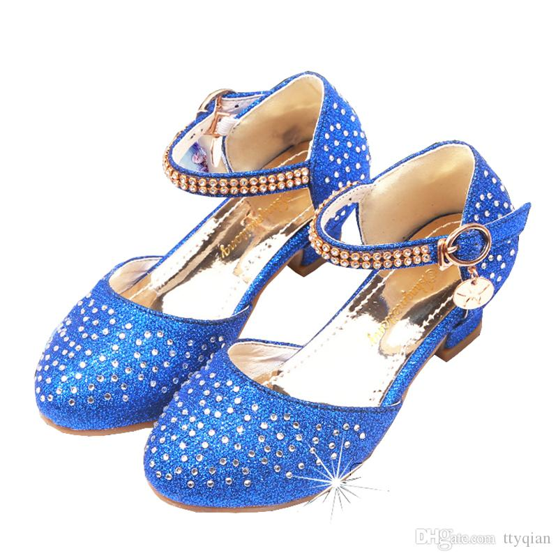 4443eee2a79467 New Flower Little Girl Children Blue Silver Rhinestone High Heeled Dress  Shoes For Girls Party And Wedding Dance Princess Shoes Cute Toddler Sandals  Shop ...