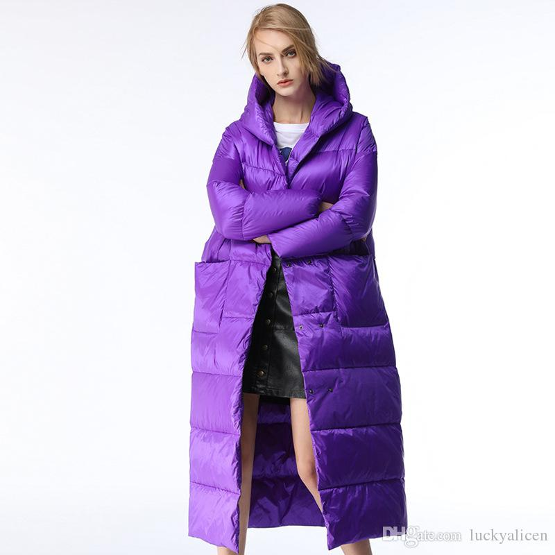 906caf215d 2019 Winter Light Luxury Down Jacket Long White Duck Down Parkas Purple  Black Thick Down Coat Warm Ladies Parka Outerwear With Hooded P05 From  Luckyalicen