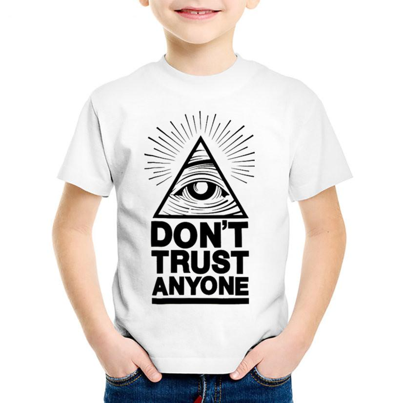 Don't Trust Anyone Illuminati All Seeing Printed Children T-shirts Kids Summer Tees Boys/Girls Casual Tops Baby Clothing,HKP546