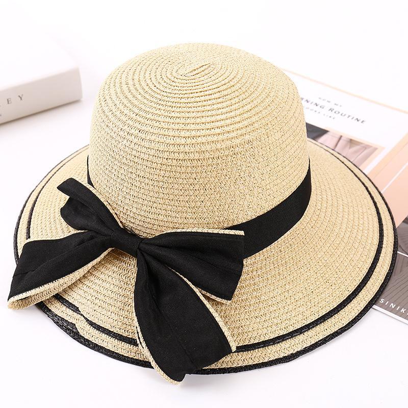 757efcb85 Sun Shade Straw Cap Bowknot Beach Caps Female Summer Hat South ...
