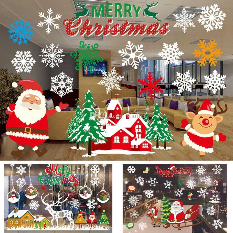 Adesivi Buon Natale.Natale Adesivi Autoadesivi Decorazioni Liquidazione Ornamenti Di Buon Natale Adesivi Murali Per La Casa Finestra Centro Commerciale Vetro Wx9 1163