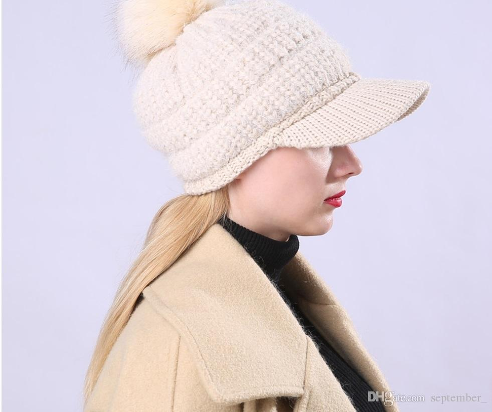 fbe25cdd46664 2018 New Warm Cap Ladies Winter With Fleece And Thickening Wool Hat With  Ball Knitting Thread Warm Comfortable Online with  4.16 Piece on  September  s Store ...