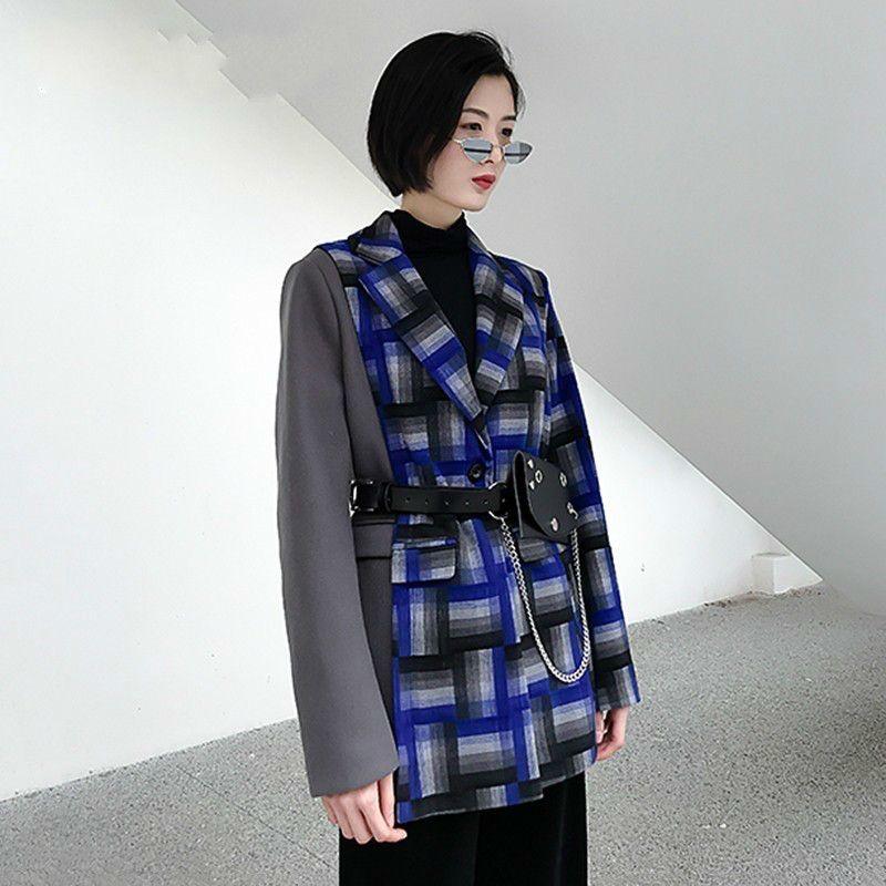 release date: 1612a 45daa Blazer in lana scozzese Cappotto donna bavero manica lunga patchwork  asimmetrico Blazer soprabito donna 2019 primavera vestiti E387