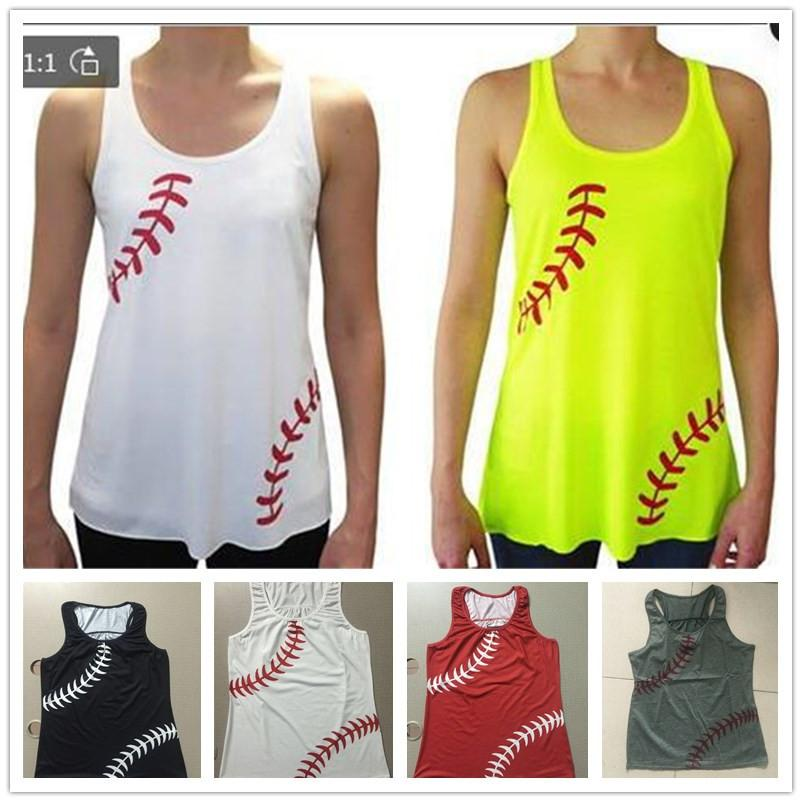 8aa1a8ec235dff Acquista Donne Baseball Softball Gilet Senza Maniche Estate Sport Strap  Canotta Tees Fitness Confortevole Gilet Palestra T Shirt Beach XS 3XL Nuovo  A22705 A ...
