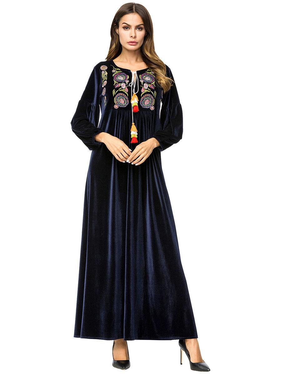 ca1a4899c40 2019 187220 Exclusive Minimalist Embroidery Korean Velvet Stitching Large  Swing Skirt Muslim Long Sleeved Moppin Robe Musulmane De Femmes From  Insino