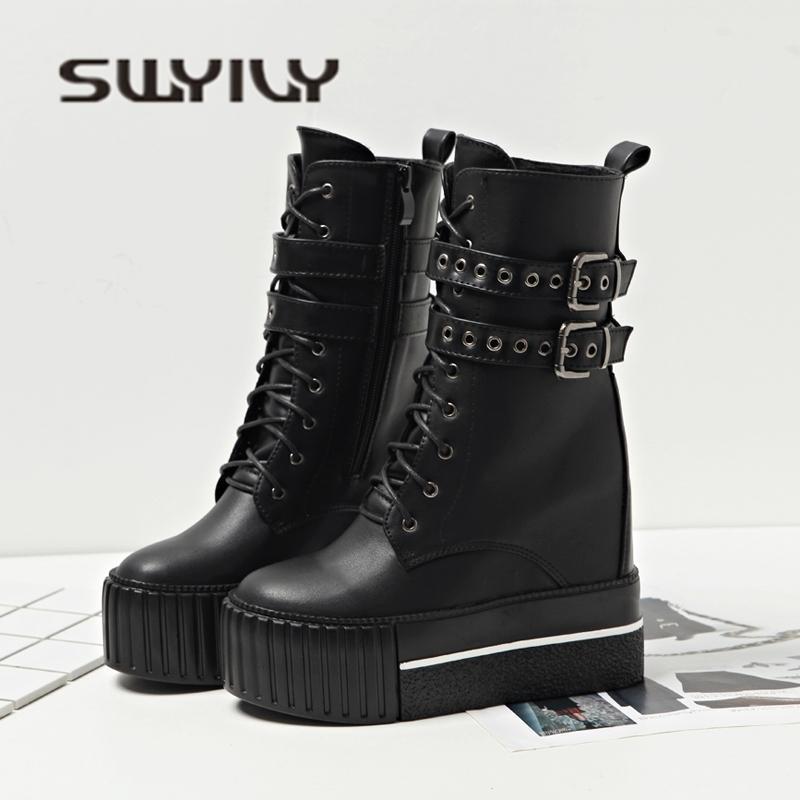 52bf10245be1b8 Großhandel 2019 SWYIVY Stiefel Schuhe Frau Plattform Sexy Schwarze  Stiefeletten Niet Gürtel 2018 Auutmn Winter Samt Warme Schneeschuhe 12 Cm  Winterstiefel ...