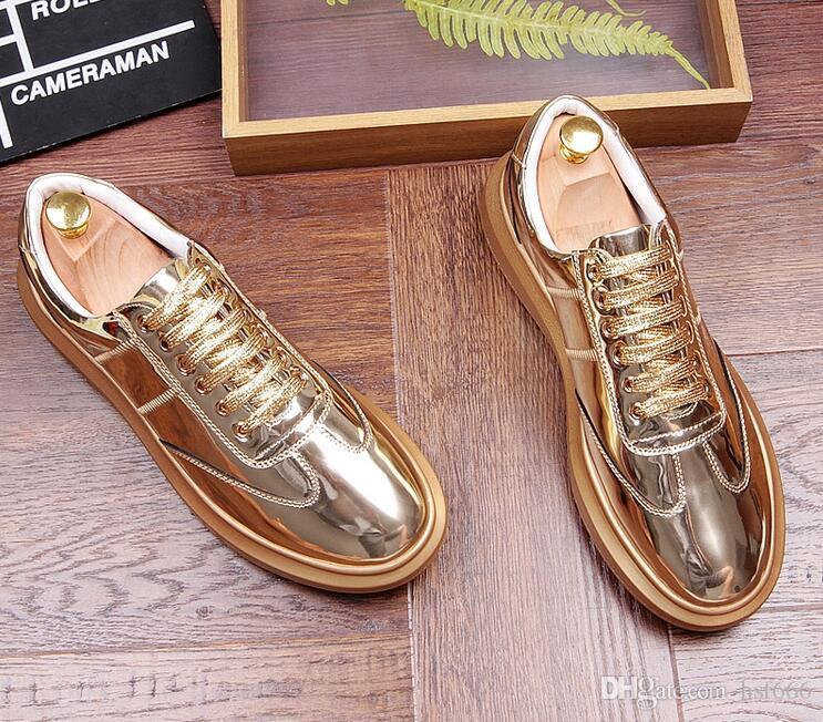 6150f761dbc Compre Hombres Diseñadores De La Calle Tendencias De La Moda Brillo De La  Pu Flats Zapatos De Plataforma Zapatos Casuales Hombre Caminando Mocasines  Calzado ...