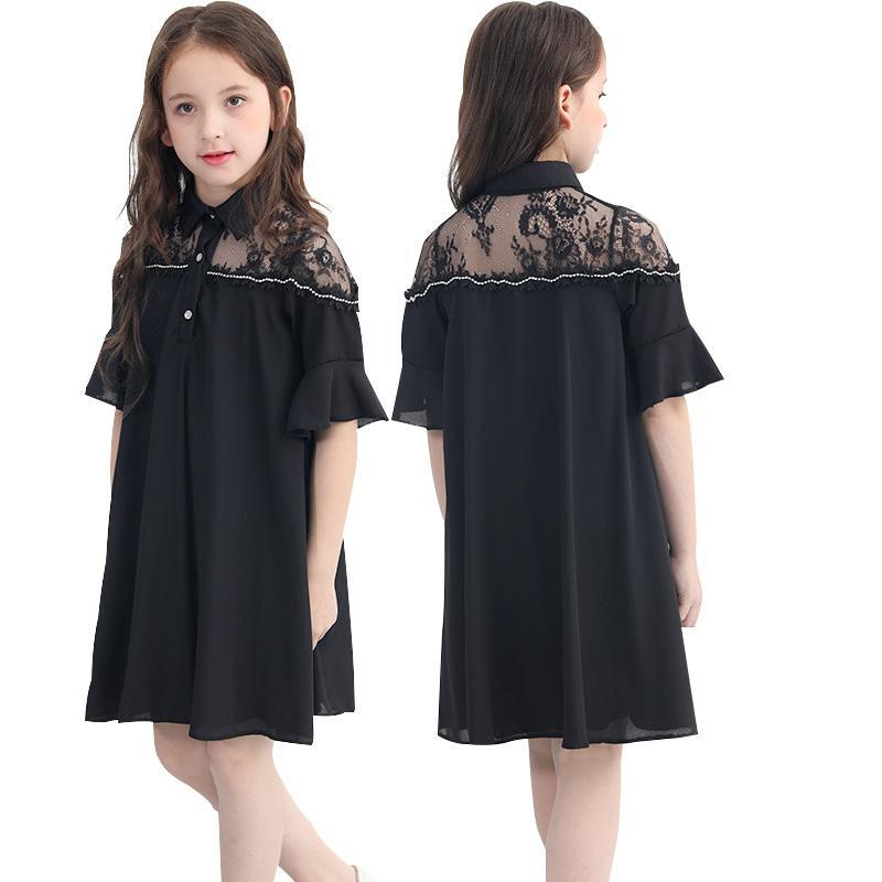 4d47c54c6 Vestido negro para niñas Verano 2019 Casual de malla de encaje Vestido de  gasa Vestido de verano de niña adolescente 6 8 10 12 14 años